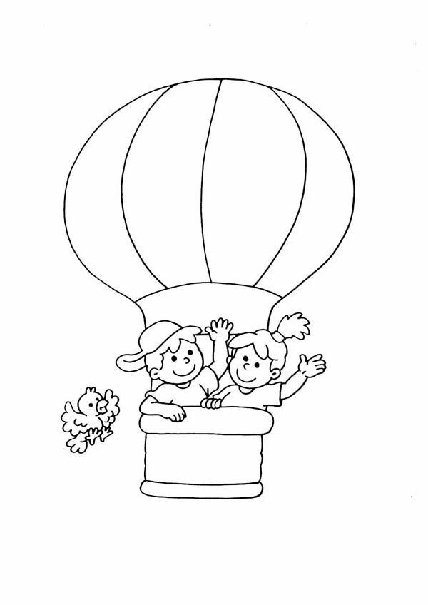 4 5 anni 7 disegni per bambini da colorare for Mongolfiera da colorare