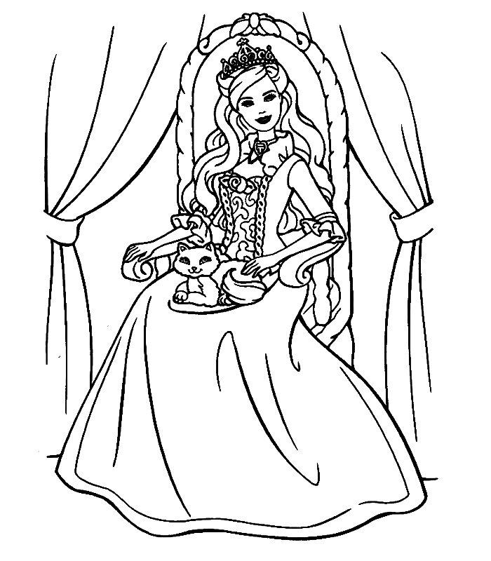 Barbie cuore principessa disegni per bambini da colorare for Disegni da colorare barbie