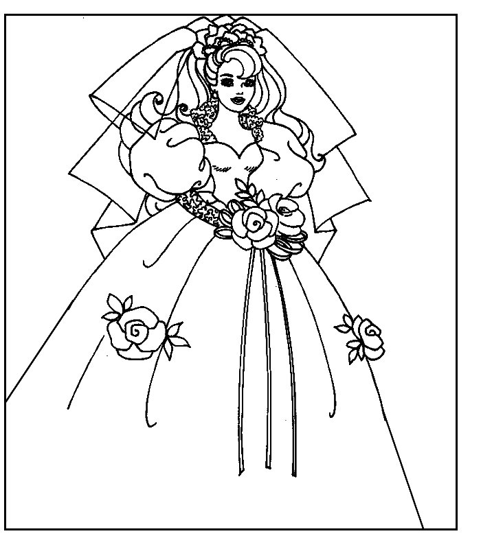 Barbie sposa disegni per bambini da colorare