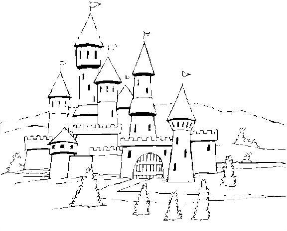 Castelli 3 disegni per bambini da colorare for Disegni paesaggi da colorare