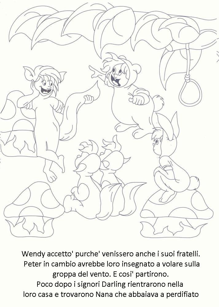 Colora fiaba peter pan 9 disegni per bambini da colorare for Disegni peter pan