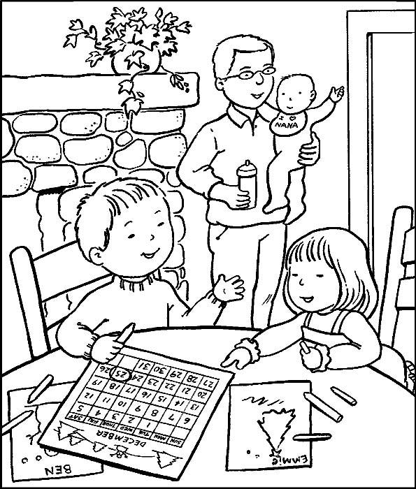Famiglia disegni per bambini da colorare for Disegna la mia casa