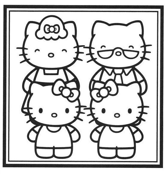 Famiglia 11 disegni per bambini da colorare - Dessin de hello kitty facile ...