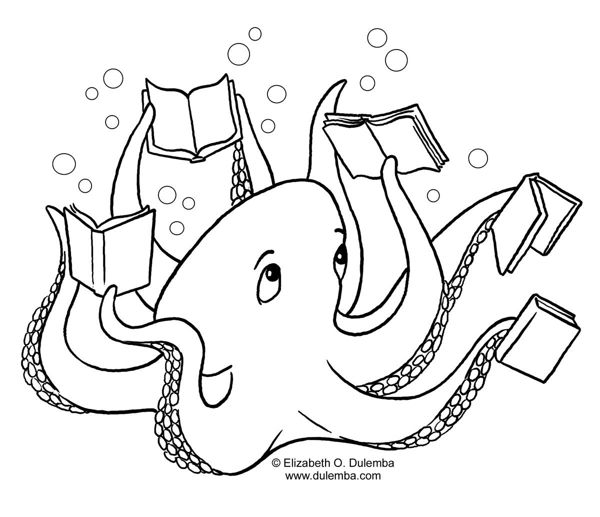 Coloring Pages Of Animals Reading : Libri disegni per bambini da colorare