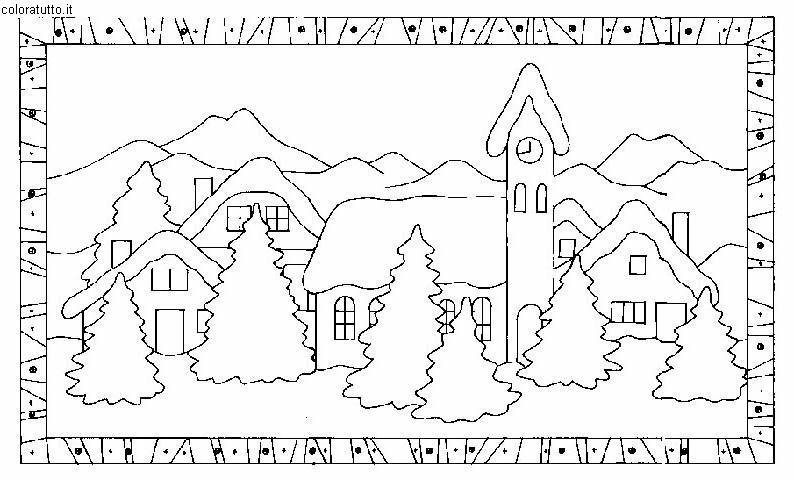Paesi innevati disegni per bambini da colorare for Disegni di casa alta