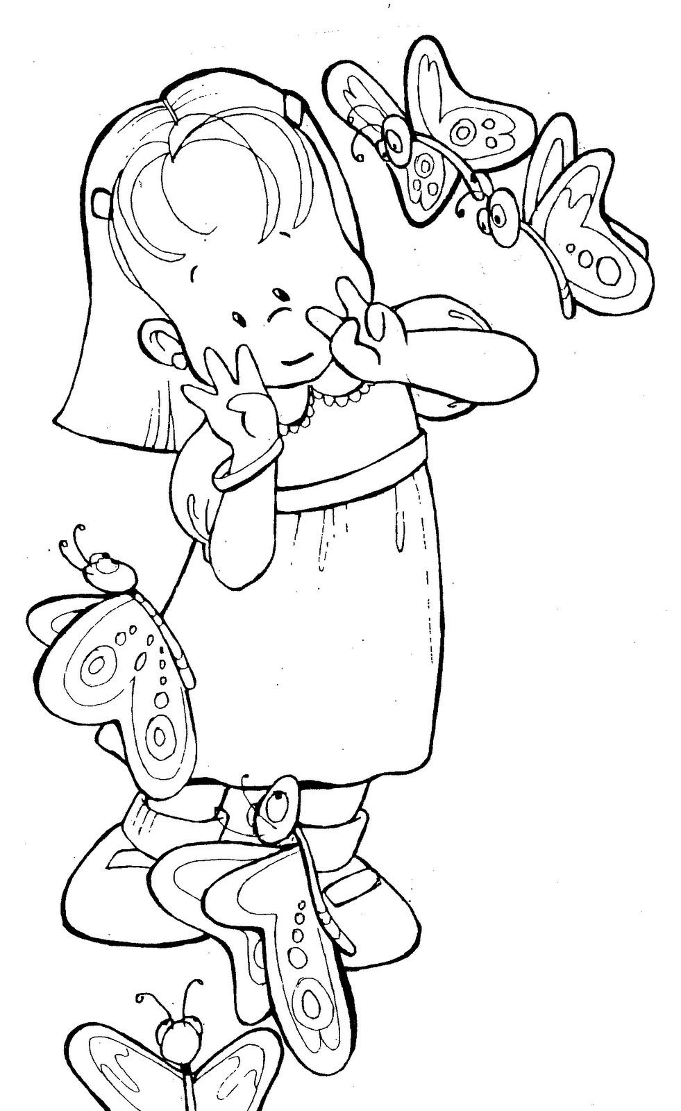 Primavera 42 disegni per bambini da colorare for Disegno bambina da colorare